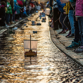 by Mario Horvat - City,  Street & Park  Street Scenes ( water, peoples, twilight, outdoor, street, ljubljana, festival, spring )