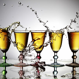5 Glasses and water splashing by Peter Salmon - Artistic Objects Glass ( colour, water, splashing, glasses, glass )