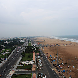 view of beach from top of lighthouse by Venkat Krish - Landscapes Beaches ( #chennai, #landscape, #lighthouse, #view, #beach )