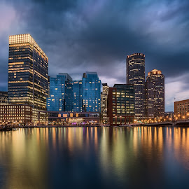 Boston Lites by Brian Pex - City,  Street & Park  Skylines ( lights, sky, boston, art, buildings, skyporn, dramatic, cityscape, passion, photography, photoshop )