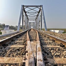 Rly. Bridge beside Deepor Beel by Manabendra Dey - Buildings & Architecture Bridges & Suspended Structures ( assam, india, guwahati, deepor beel )