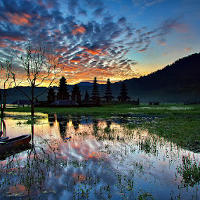 Tamblingan Burning Sky by Satrya Prabawa - Landscapes Waterscapes