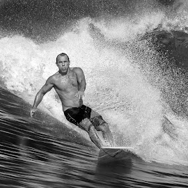 Alex by Indrawaty Arifin - Black & White Sports ( surfing, surfer, bw, wave )