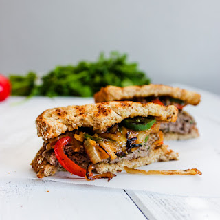 Patty Melt with Caramelized Red Pepper, Jalapeno and Onion {Giveaway}