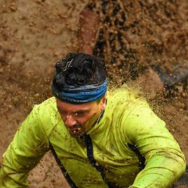 by Marco Bertamé - Sports & Fitness Other Sports ( water, muddy, splatter, splash, strong, fluo, yellow, stronmanrun, running, man )