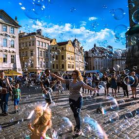 Bubbles in Prague by Arif Sarıyıldız - City,  Street & Park  Street Scenes ( czech republic, bubbles, prague, travel photography )