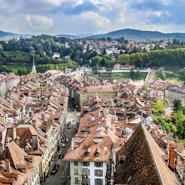 Bern from Above by Sergey Sibirtsev - City,  Street & Park  Historic Districts ( from above, bern, switz, old city, citiscape, switzerland, city,  )