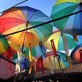 Happy Brollies by Vivian Chew - Novices Only Objects & Still Life ( chew jetty, umbrella, penang, rainbow, heritage, colours,  )