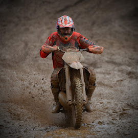 Pushing! by Marco Bertamé - Sports & Fitness Motorsports ( uphill, red, mud, bike, rainy, motocross, pushing, clumps, motorcycle, race, accelerating, competition )