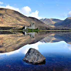 On reflection by John Cuthbert - Landscapes Mountains & Hills ( jcstudiosblue, reflection, castle, loch, highland, free, wild, scottish, awe, landscape, scotland )