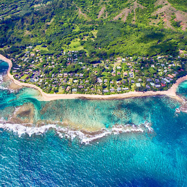 Kauai North Shore from the Air by Brandon Beadel - Landscapes Travel ( helicopter, sand, coral, houses, aerial, ocean, beach, aerial photograph, kauai, tunnels, trees, north shore, aerial photography, hawaii )