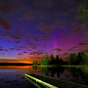 Aurora at Sunset by Shixing Wen - Landscapes Sunsets & Sunrises ( duluth, minnesota, night photography, boulder lake, sunset, northern lights, aurora, nature photography )