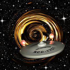 USS Star Ship Enterprise  by Darcie Wright - Artistic Objects Toys ( star trek ship enterprise galaxy stars black white toy )