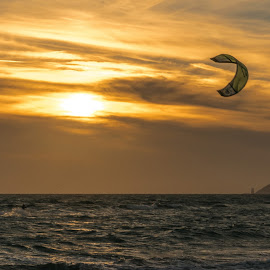 Sun & Fun by Pere Olivares - Sports & Fitness Surfing ( sunset, kite, sports, sport, kitesurf, fun, beach, sun )