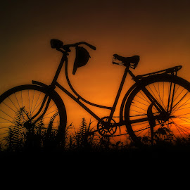 Old Bike in Sunset by Robins Selalu Ada - Transportation Bicycles ( almost night, sunsets, sunny, sunset, indonesia, silhouette, siluet, transportation, sunrise, sunlight, bicycle )