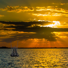 Louisiana Sunset by Clement Stevens - Digital Art Places ( clouds, shrimpers, color, sunset, louisiana, travel, rays )