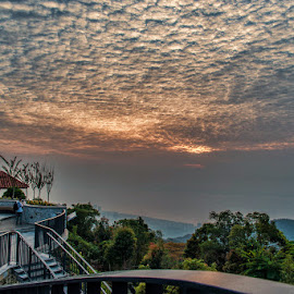 View from Hill 2 by Adrian Choo - Landscapes Sunsets & Sunrises ( clouds, red, nature, awesome, gritty, penang, sunrise )