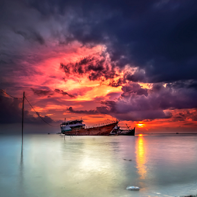 FORGOTTEN by Arif Otto - Landscapes Sunsets & Sunrises ( sunset, broken boat, forgotten, belitung,  )