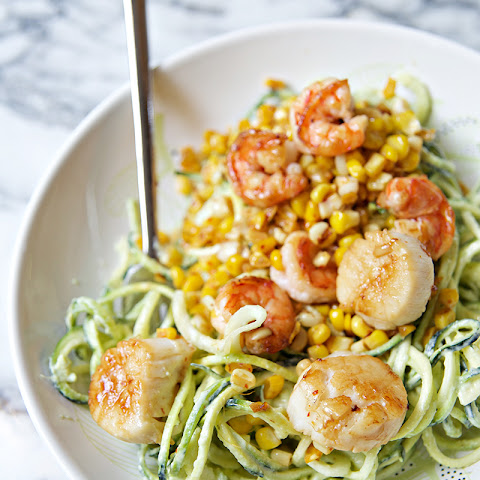 Chili Lime Shrimp & Scallops with Corn, Zucchini Noodles, & an Avocado Creama