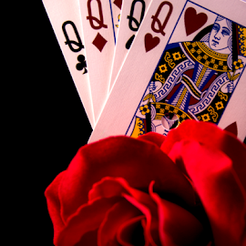 Lucky Ladies by Anthony Balzarini - Artistic Objects Still Life ( #luckyladies, #pokerhand #fourofakind #quadqueens #queens,  )
