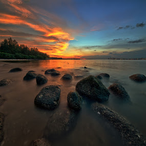 Golden Glow by Partha Roy - Landscapes Sunsets & Sunrises ( vertorama, sunset, long exposure, rock, beach, punggol )