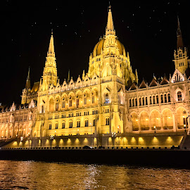 Budapest at Night by Shari Linger - Instagram & Mobile iPhone ( hungary, ancient buildings, budapest, crown jewels, night, historical places )