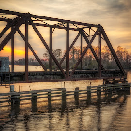 Train Trestle Swing Bridge by Robert Mullen - Landscapes Sunsets & Sunrises ( washington, tressel, train trestle, sunset, bridge )