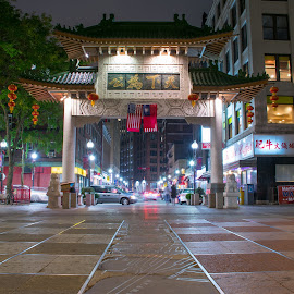 The Gates to Chinatown Boston by Paul Gibson - Artistic Objects Other Objects ( urban, flags, flag, boston, chinatown, long exposure, night, city, gate )
