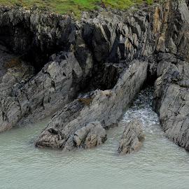 Ridges of Cliff by DJ Cockburn - Landscapes Caves & Formations ( pembrokeshire coast national park, wales, pembrokeshire, cliff, slate, sea, national trust, coastline, landscape, coast, porthgain, st david's peninsula )