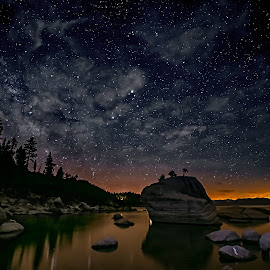 The Milky Way by Curt Lerner - Landscapes Starscapes ( california, stars, night, bonsai rock, space, milky way, lake tahoe )