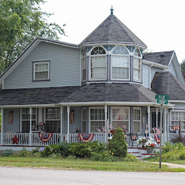 On Main Street by Michiale Schneider - Public Holidays July 4th ( building, flag, vintage, patriotic, american, architecture, house )
