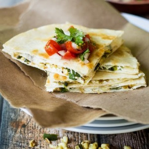 Roasted Poblano, Corn, and Goat Cheese Quesadillas