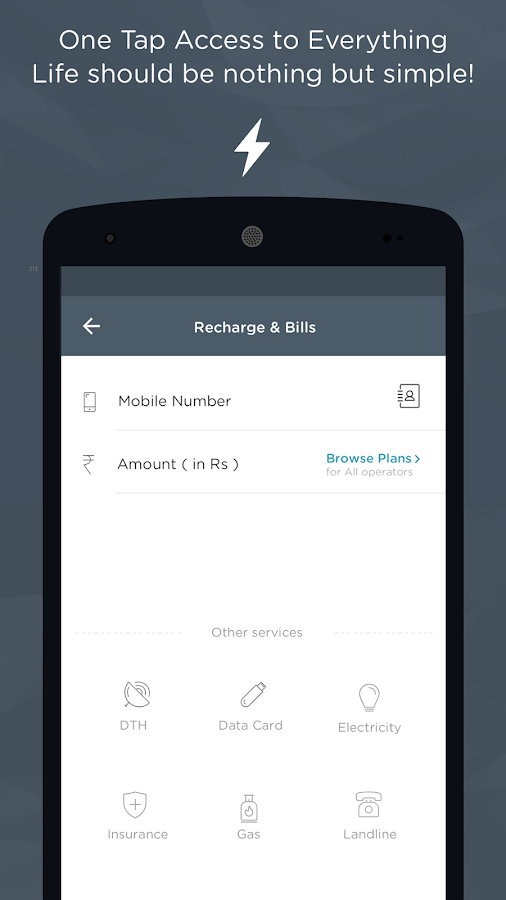 Recharge, Bills, Wallet, Bus Screenshot 1