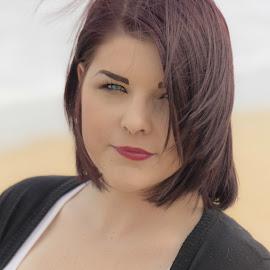 Kayla by Melinda Lee - People Portraits of Women ( model, female, woman, blue eyes, beach photo shoot, tattoo, portrait )