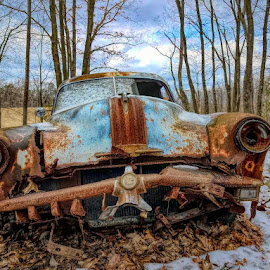 Yester-year by Sandy Considine - Transportation Automobiles ( old car, rusted, junkyard car )