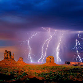 Monumental Storm by Steven Love - Landscapes Weather ( thunder, famous, bright, monument valley tribal park, land, sandstone, rock, high dynamic range, landscape, storm, manipulation, photography, landmark, lightning, massive, red, arizona, weather, passing, rain, formation )