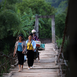 going back home by Phạm Thiên - Buildings & Architecture Bridges & Suspended Structures ( vietnam, thai group, bridge, women portraits, sonla )
