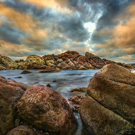 Water by Greg Tennant - Landscapes Waterscapes ( clouds, water, sunset, ocean, rocks )