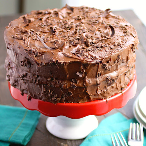 Chocolate Salad Dressing Cake with Cherries & Chocolate Buttercream