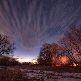 Between night and day by Zach Hanson - Landscapes Starscapes ( sunset, stars, blue hour, campfire, nebraska )