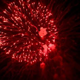 Fireworks Celebration by Florentina  Arvanitaki - Public Holidays Christmas ( celebration, fireworks, christmas, red fireworks, new year )
