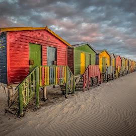 Muizenberg Beach Huts by David Long - Buildings & Architecture Public & Historical ( beach huts, muizenberg, cape town )