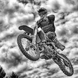 King Of The Air ! by Marco Bertamé - Black & White Sports ( flying, motocross, cloudy, jump )