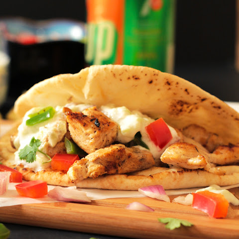 Greek Chicken Souvlaki Pita Wraps with Herb Roasted Potatoes