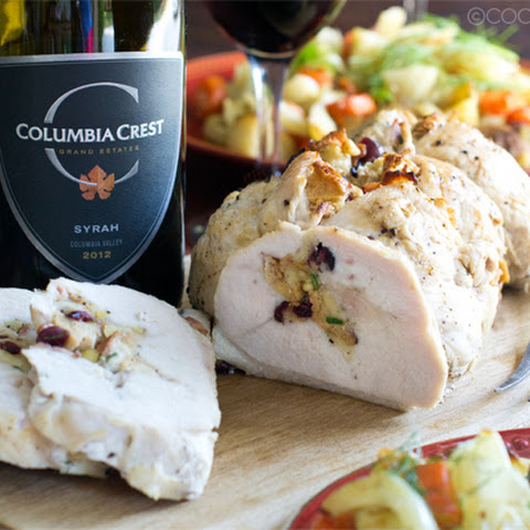 Roasted Turkey Breast with Pine Nut Cranberry Stuffing and Roasted Root Vegetables