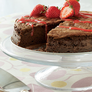 Flourless Chocolate Cake with Strawberry Coulis