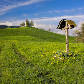 The way to church by Stane Gortnar - Uncategorized All Uncategorized ( hills, nature, church, way, landscapes,  )