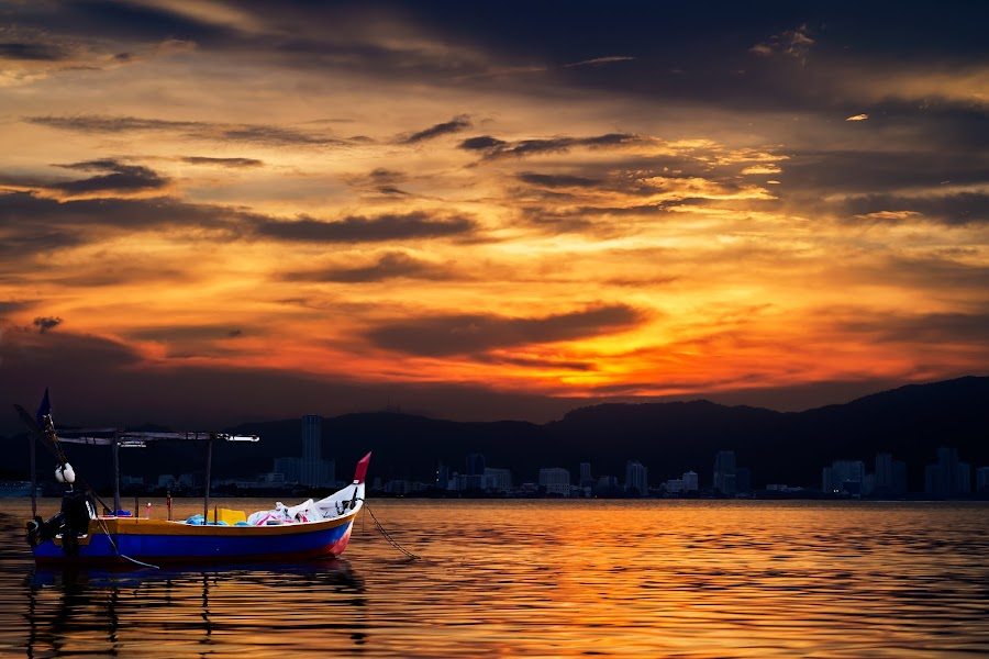 Penang Island by Fotugraphar Quazi - Landscapes Travel ( waterscape, sunset, wallpaper, penang, sea, malaysia, boat, landscape, golden light )
