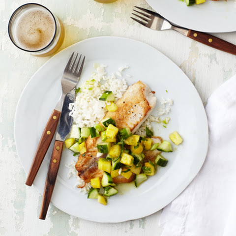 Seared Tilapia with Pineapple and Cucumber Relish