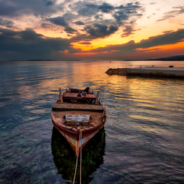 Sunset Proboj by Miro Cindrić - Landscapes Waterscapes ( port, clouds, sunset, colors, sea, coast )